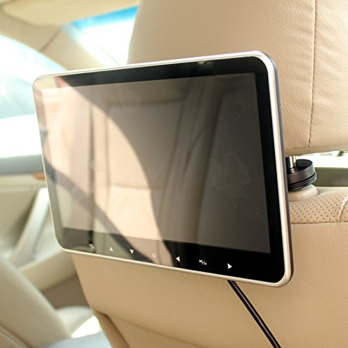 In Car 10 Inch Headrest HD TFT-LCD LED Monitor Screen SD USB HDMI MP4 MP5 Media Multimedia Player FM Transmitter Quick Install by HitCar (Led Tft)