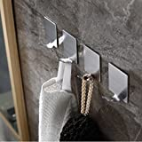 Adhesive Hooks, Wall Hooks Heavy Duty Wall Hangers Stainless Steel Waterproof Hooks for Robe, Coat, Towel, Keys, Bags, Lights, Calendars -Home Kitchen Bathroom 4-pack