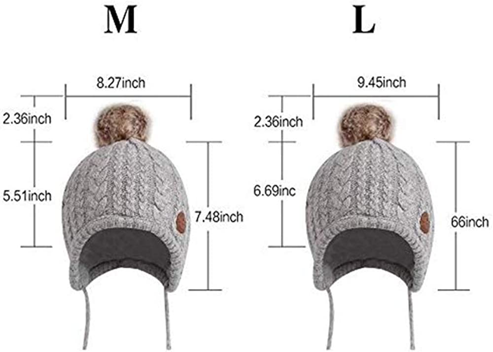 3D-Star Toddler Kids Winter Earflap Knit Beanie Hat with Faux Fox Fur Pom Poms Ball for Boys and Girls