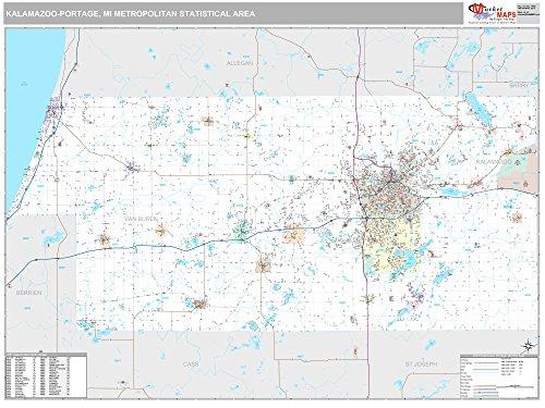 Kalamazoo-Portage, MI Metro Area Wall Map - 2018 - ZIP Codes - Laminated - 64 x 48 inches (Kalamazoo Furniture)