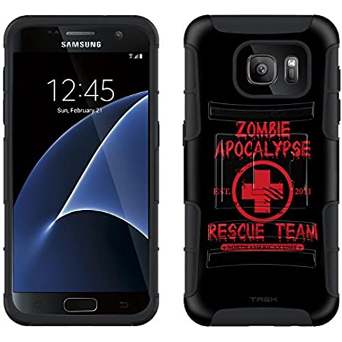 Samsung Galaxy S7 Armor Hybrid Case Zombie Apocalypse 2012 Rescue Team Red on Black 2 Piece Case with Holster for Samsung Galaxy S7 Sales
