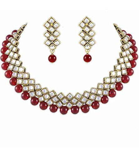 Karatcart Kundan And Red Beads choker for Women (Red)