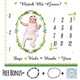 Monthly Baby Milestone Blanket - Month Blanket for Baby Pictures | Blanket with Baby Photo Props | Bonus Floral Wreath and Card | Newborns Baby Boy and Girl Milestone Blanket | Photography Background