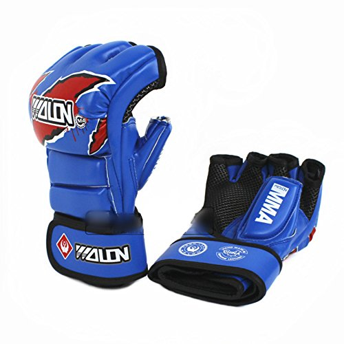 T.Face MMA Boxing Gloves 5 Colors PU Mateial MMA Half Fighting Gloves Muay Thai Training Breathable Male Fitness for Adult (Blue)