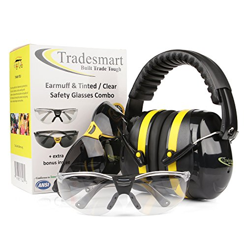 Review TRADESMART BUILT TRADE TOUGH Tradesmart Shooting Earmuffs and Anti Fog, Scratch Resistant Safety Glasses Combo Pack/Kit (2pk Clear-Tint)