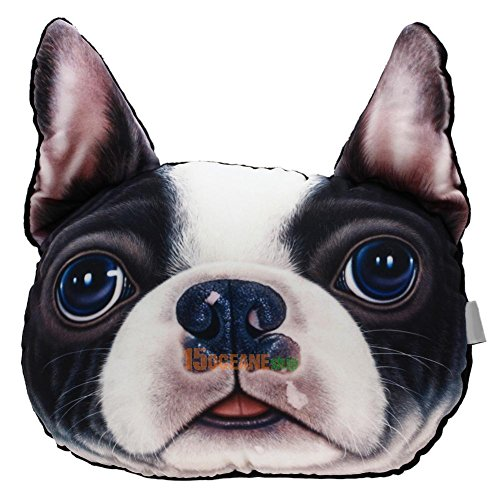 BB 1# 3D Dog face Car Headrest Pillow Activated Carbon Head Neck Support Rest Gift Toy