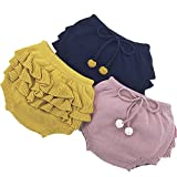 U0U Baby Girl's Boy's Frilly Knitting Shorts Toddler Pants for 12 Month 2T 3T 4T (2T, Blue)