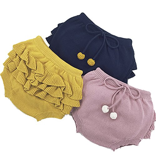 U0U Baby Girl's Boy's Frilly Knitting Shorts Toddler Pants For 12 Month 2T 3T 4T (3T, Yellow) -