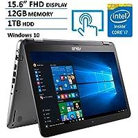 ASUS 15.6-Inch HD Touchscreen Flagship 2-in-1 Laptop Computer (Intel Dual Core i7-6500U 2.50GHz, 12GB DDR4 RAM, 1TB HDD, USB Type C, USB 3.0, HDMI, 802.11ac, Windows 10)