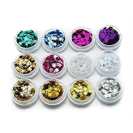 KADS 12pots/set Shiny Sparkly Sequin Hexagon Glitter Ice Mylar Shell Foil Paper Decoration Scraps of Paper Design KADS Co. Ltd