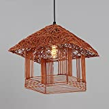 Rattan Chandelier Creative Bird's Nest Decorative Lights Rattan Living Room Ceiling Light Balcony Lamps ( Color : B )