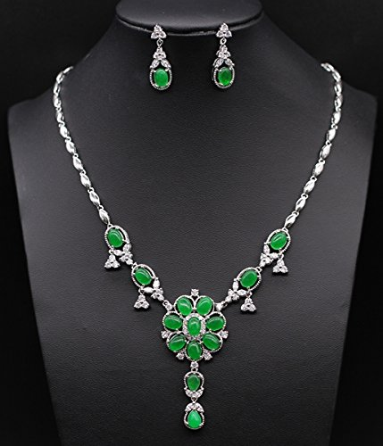 Elegance Green Jade Emerald Jewelry Set Silver Plated Earring Necklace Fashion Jewelry Set