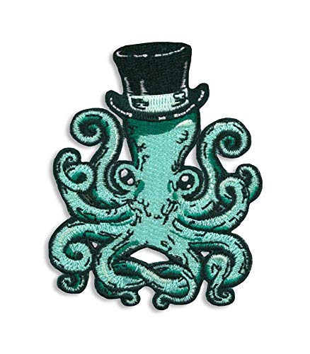 Gentleman Octopus Embroidered Patch by Trixie & Milo - Iron on - Kraken - Steampunk - collectable ()