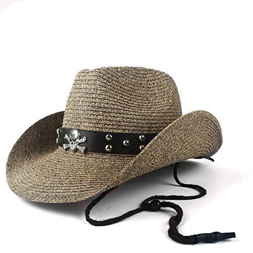 YUXUJ Women Men Hollow Western Cowboy Hat Lady Dad Beach Straw Panama Cowgirl Jazz Sun Cap Size 56-58CM