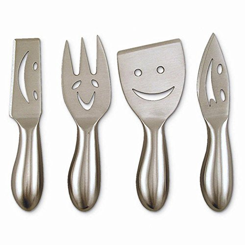 Epic Products 4 Piece Smiley Face Cheese Knife Set, Multicolor