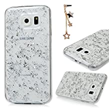 Galaxy S6 Case -MOLLYCOOCLE® Colorful Soft TPU Bumper Full Edge Protection Bling Sparkly Glitter Scratch Resistant Protective Clear Ultra Slim Skin Cover for Samsung Galaxy S6 - Silver