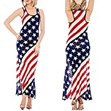 Ladies Sundress,Sexy American Flag Bodycon Dress Diagonal Striped Party Outfit Axchongery (Red, S)