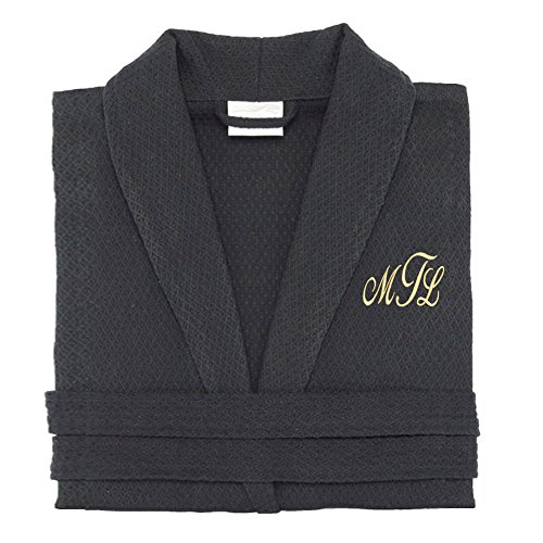 KYS 100% Cotton Personalized Premium Waffle Robe (Black, Large) by Key Your Spirit