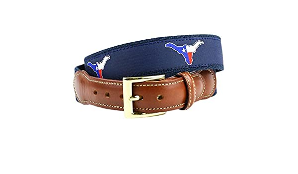 ef2c82aff7e Texas Longhorn Flag Leather Tab Belt in Navy on Navy Canvas by Country Club  Prep at Amazon Men s Clothing store