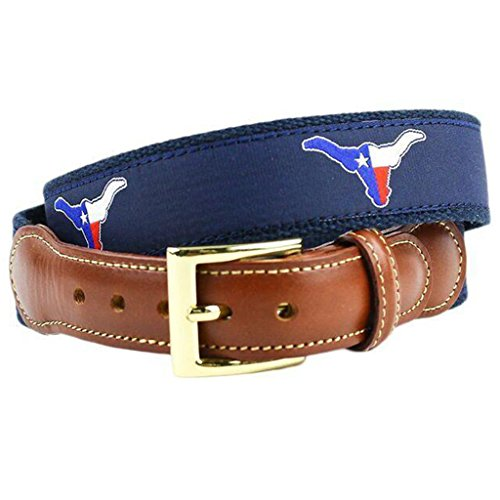 Texas Longhorn Flag Leather Tab Belt in Navy on Navy Canvas by Country Club Prep