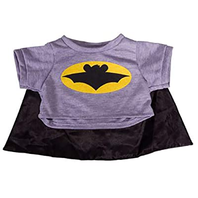 "Bat Bear T-Shirt With Cape Teddy Bear Clothes Fits Most 8"" - 10"" Build-A-Bear and More: Toys & Games"