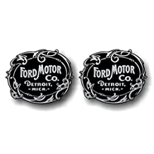 """2 Ford Motor Company Vinyl 5"""" Decals Vintage Style F250 F150 Truck Car Stickers (Silver)"""