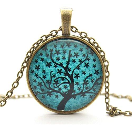 Psiroy Women's Art Life Tree Glass Cabochon Bronze Chain Vintage Retro Choker Necklace