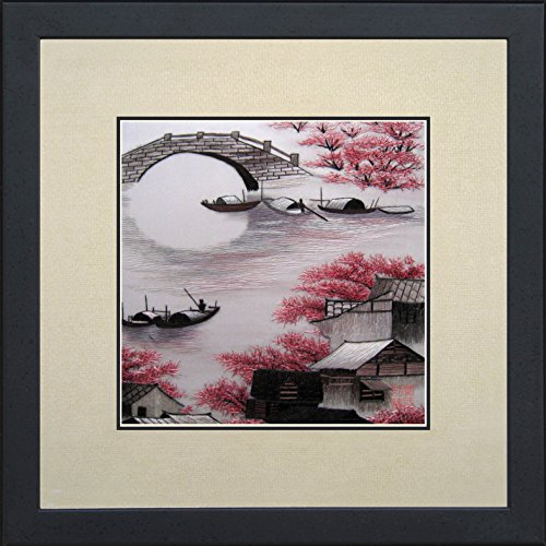 King Silk Art 100% Handmade Embroidery Mixed Group Large Framed Ancient Retro House Japanese Cherry Blossoms Chinese Print green bamboos Landscape Painting Gift Oriental Asian Wall Art Décor Artwork Hanging Picture Gallery 37149WFG