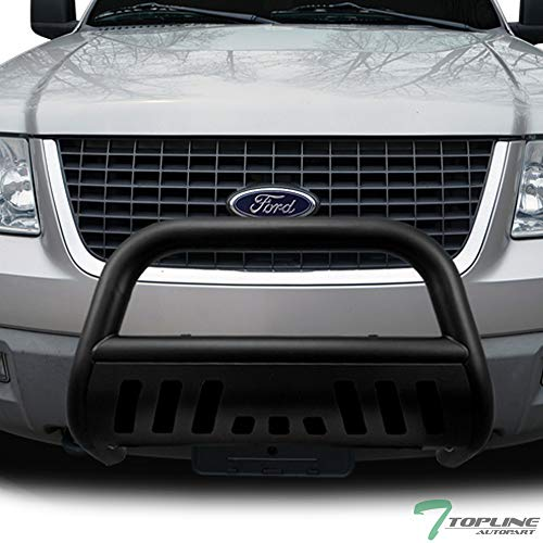 Topline Autopart Matte Black Bull Bar Brush Push Front Bumper Grill Grille Guard With Skid Plate For 04-18 Ford F150 / 03-17 Expedition ; 03-14 Lincoln Navigator / 06-08 Mark LT