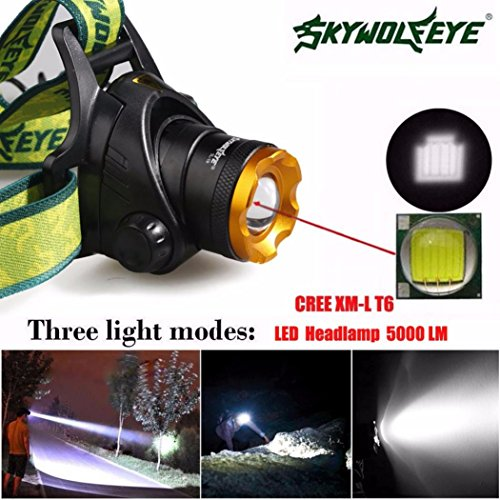 (Sky Wolf Eye Headlamp,Oksale Waterproof 5000 LM 3 Mode Zoomable XM-L XML T6 LED Bicycle Head Light,18650 Headlight Torch for Camping Hunting Running)