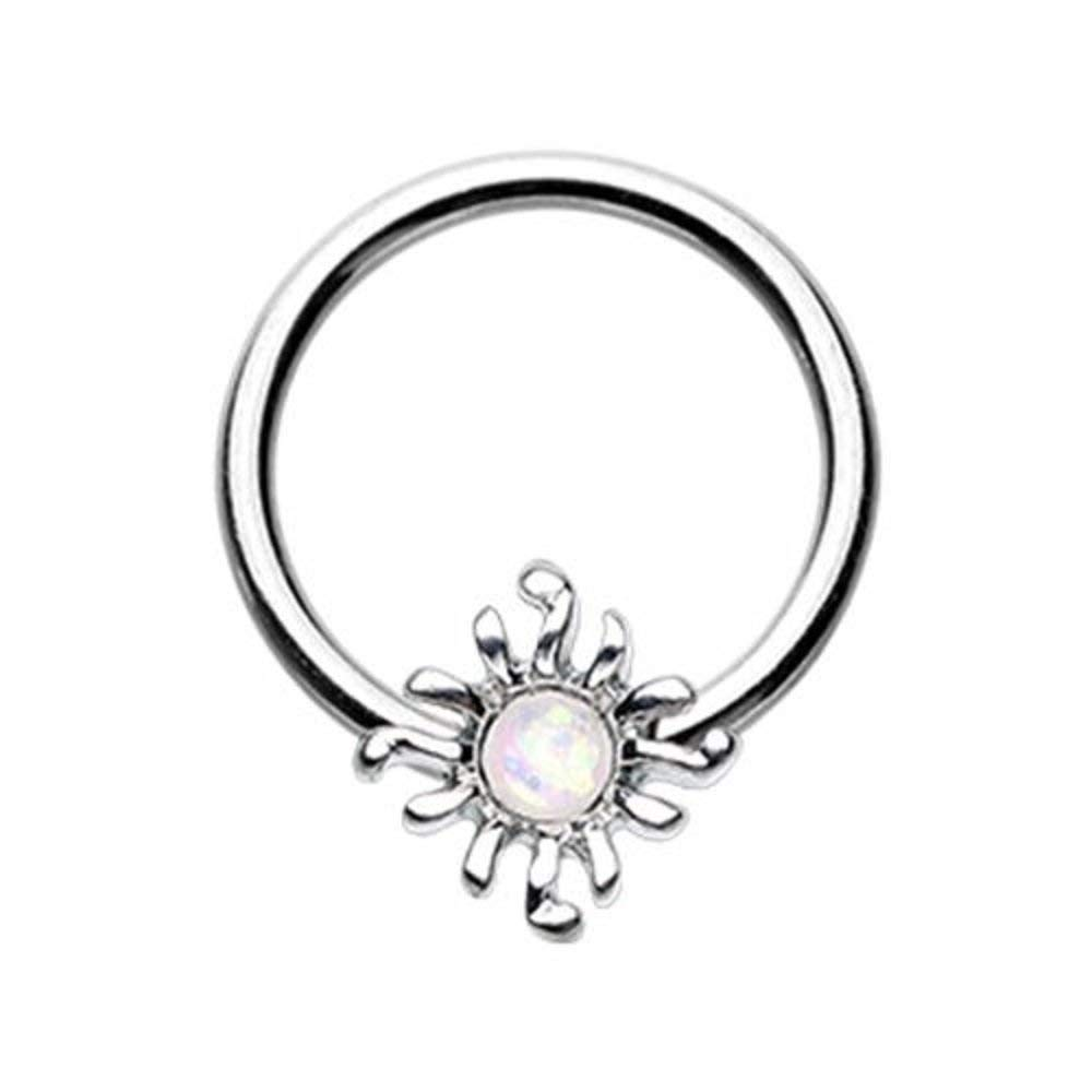 Covet Jewelry Blazing Glitter Opal Sun Steel Captive Bead Ring