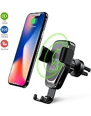 Heiyo Cargador Inalámbrico Coche, 10W Qi Cargador Wireless, Rápida Cargador de Coche Aplicable a Rejillas del Aire para iPhone X/XS/XR iPhone 8/8 Plus, Samsung Galaxy Todo Qi Habilitado Smartphone