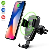 Wireless Car Charger Phone Mount, 2 in 1 Car Air Vent & Dashboard Universal Phone Holder Fast Charging Compatible with iPhone X iPhone 8/8 Plus,Samsung Galaxy and All QI-Enabled Smartphone