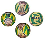 Forever Fanatics Brazil Neymar #10 Soccer Ball Kids & Adult Size 5 ✓ Best Gift For Fans ✓ Unique 6 Panel Design ✓ Durable Soft Touch Construction (Size 5, Brazil Neymar #10)
