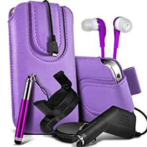 Samsung Galaxy S5 premium protección PU botón magnético ficha de extracción Slip espinal en bolsa de la cubierta de piel de bolsillo rápido con lápiz óptico retráctil, Jack de 3,5 mm auriculares auriculares auriculares, cargador de coche USB Micro 12v y 360 Sostenedor giratorio del parabrisas del coche cuna Purple por Spyrox