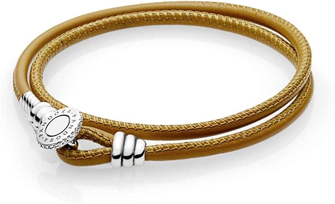 f0ddde200 Pandora Moments Golden Tan Double Leather Bracelet with Clear CZ 597194CGTD3