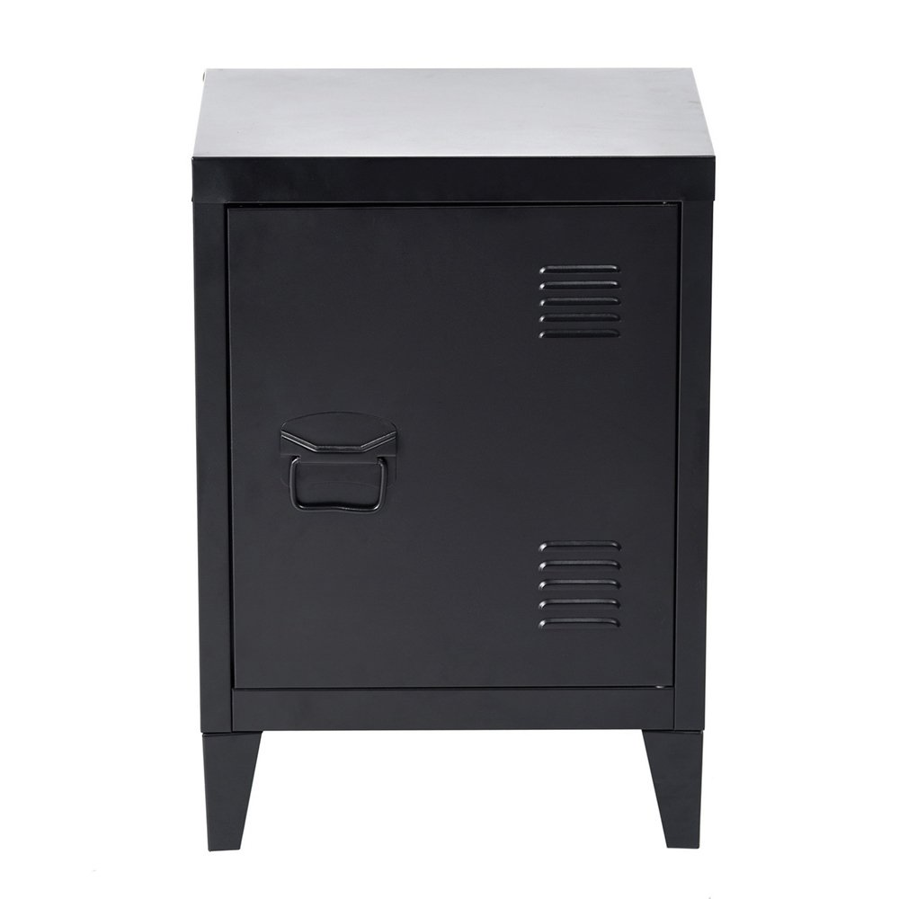 HouseinBox Low Standing Locker Organizer Side End Table Office File Storage Metal Cabinet Cupboard Unit Detachable 4 Legs,Size:15.9'' x 12'' x 22.6'' (Black) by HouseinBox