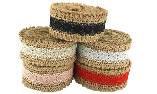 Trimweaver 10-Yard Natural Burlap with Lace Ribbon Variety Pack for Craft, 1-Inch, Pink/White/Black/Red/Ivory by Trimweaver