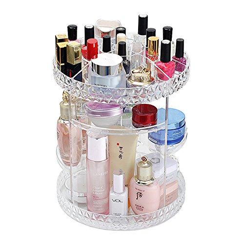 A-MOONER 360 Degree Rotation Transparen Adjustable Multi-Function Cosmetic Storage Box Luxury Acrylic Storage Box(14in 11in) by A-MOONER