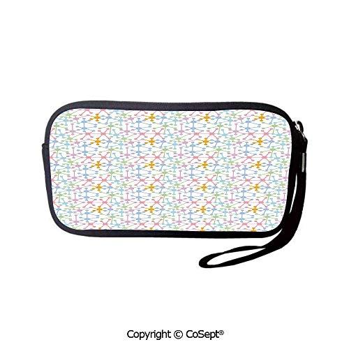 (Unisex Coin Purse Colorful Dots Interconnection Theme Stationery Pouch)
