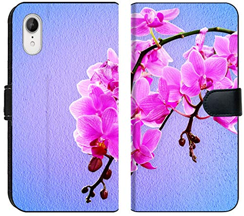 (Apple iPhone XR Flip Fabric Wallet Case Image ID: 32648713 Pink Orchid Flowers on a Pastel Background)