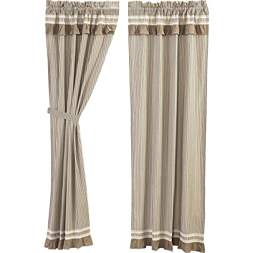 VHC Brands Farmhouse Window Kendra Stripe White Curtain Panel Pair, Black (Ticking Black Curtains)