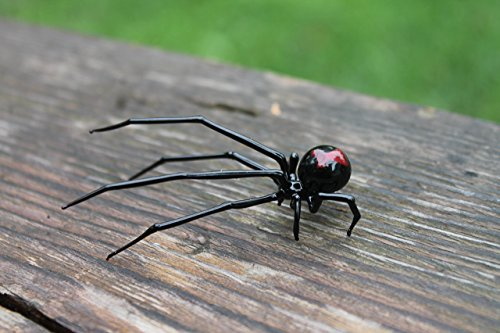 Black Glass Figurine - Glass black Widow Figurine Blown Glass Spider hand blown glasses BLACK WIDOW