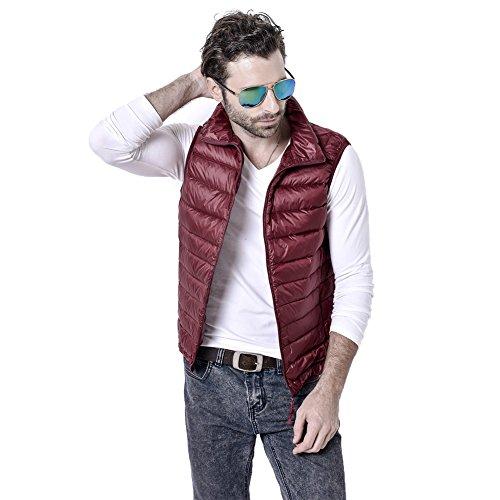 Vest Mens Lightweight YYF Down Pockets Wine Zip with Up 4TXZwZqd