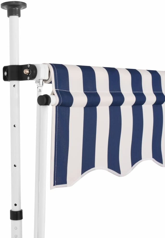Tidyard Manual Retractable Sun Shade Patio Awning 98.4 Inches for Window Terrace Balcony Garden Blue and White Stripes