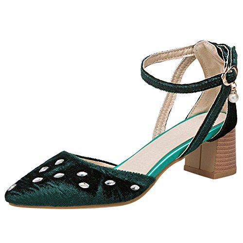 Women Sandals Fashion TAOFFEN Block Green Heel YSx7w