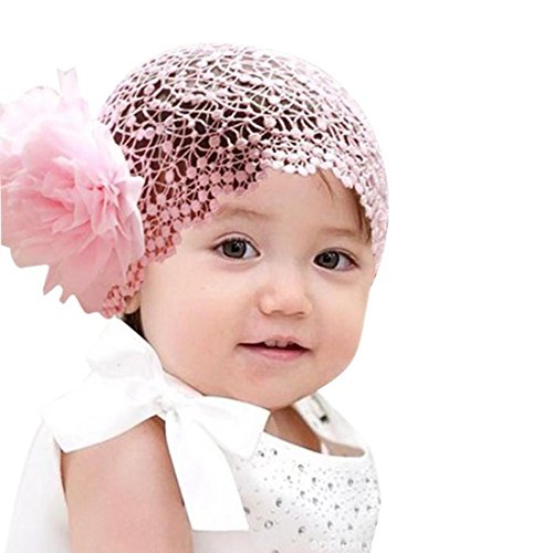 Niceroker Flower Toddlers Infant Baby Girl Princess Headband Accessories Crochet Pink