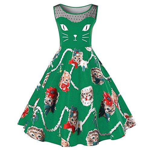 Katze die ärmelloses ParteiKleid für Frauen BURFLY Damen Weinlese ...