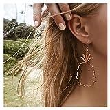 Clearance! Punk Vintage Boho Stylish Cute Pineapple Earrings Long Chain Stud Earrings for Women Girls (Gold)