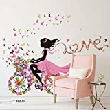 YUFENG Butterfly Girl on Bicycle Removable Vinyl DIY Wall Decal (Butterfly Girl 2) Picture